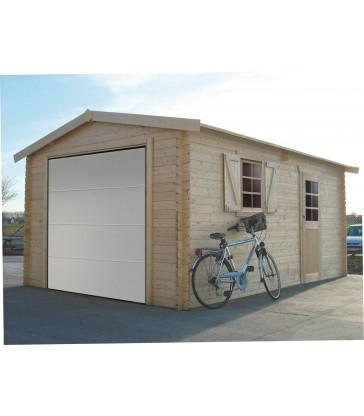 Tuinhuis-Houten garage - sectionaal poort