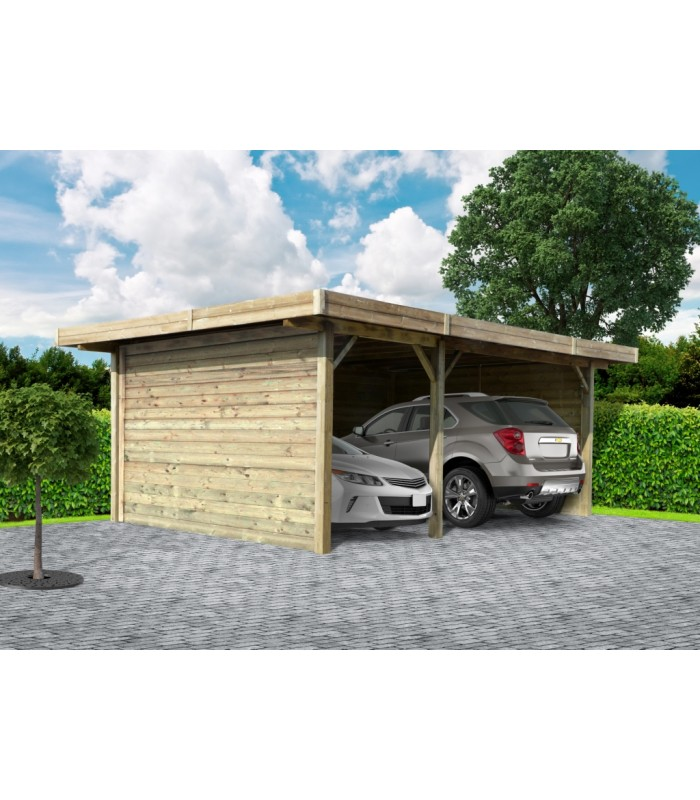 Goedkope garage of carport. Eigen plaatsingsdienst en maatwerk.