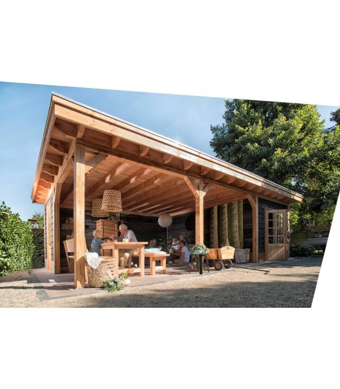 Spiksplinternieuw Kwaliteitsvol modern douglas tuinhuisje met overkapping en plat dak. EX-64