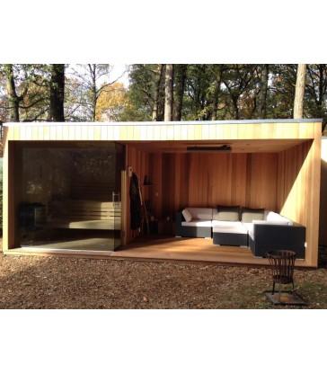 Buitensauna met ontspanningsruimte in ceder hout - MAATWERK
