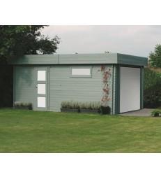 Houten moderne garage - sectionale poort (S8935)