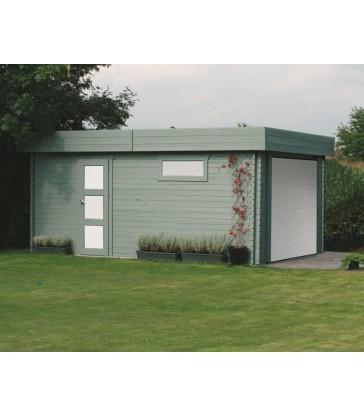 Houten moderne garage - sectionale poort