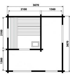 Blokhut buitensauna platdak 3940 Extra